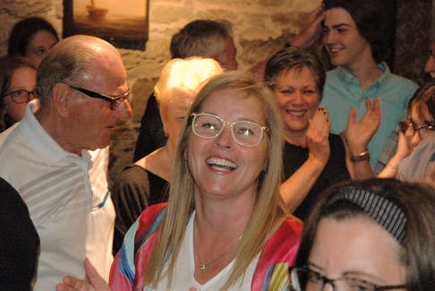 A jubilant Karla MacFarlane as the news comes in during election night that not only did she retain her Pictou West seat but her Progressive Conservative party would form the next government.