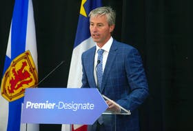 Premier-Designate Tim Houston speaks at a press conference at the Pictou Country Wellness Centre on Wednesday, Aug. 18, 2021.