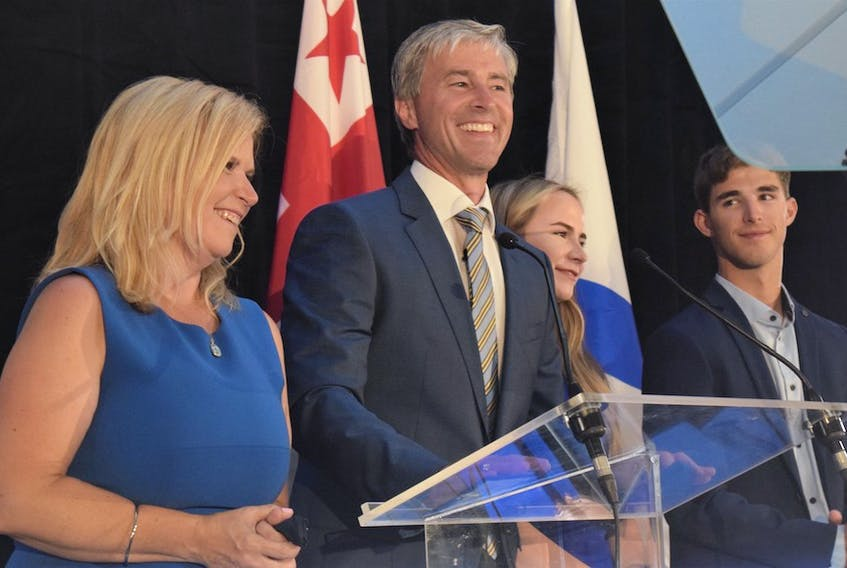 New Nova Scotian Premier Tim Houston started his list of thank-yous by acknowledging the love and support he receives from his wife Carol, daughter Paget, and son Zachery, who joined him on stage for his victory speech.