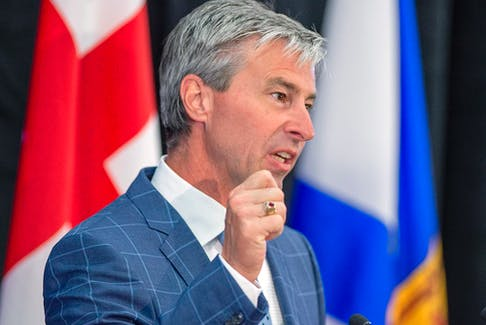 Progressive Conservative Premier-designate Tim Houston fields questions at a media availability after winning a majority government in the provincial election in New Glasgow, N.S. on Wednesday, Aug. 18, 2021.