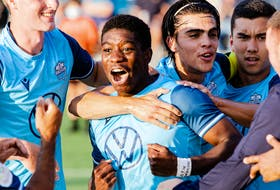Cory Bent celebrates with his HFX Wanderers teammates after scoring in the first half against AS Blainville at the Wanderers Grounds on Tuesday. - GREG ELLISON / HFX Wanderers