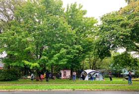 Approximately 20 supporters wait out at the micro park at the corner of Chebucto and Dublin Streets in Halifax. The 'residents' of the shelter and tents were not in attendance, but the supporters said they were there in case the city decides to forcibly remove the housing structures.
