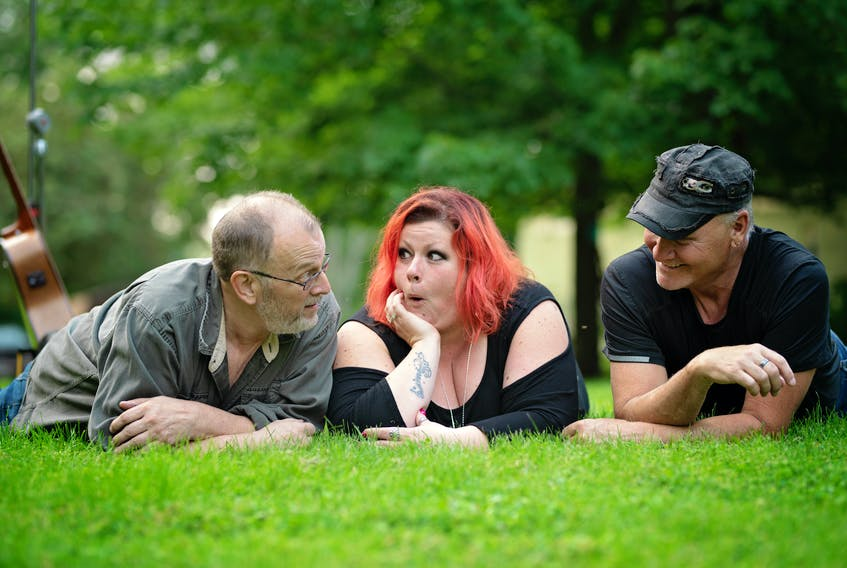 Left Of Center are preparing for an upcoming show at Vidito Family Campground & Cottages in Wilmot. From left are Lloyd Haight, Nikki Gray and Vance Macleod. Jess Bain Photography • Special to the Annapolis Valley Register