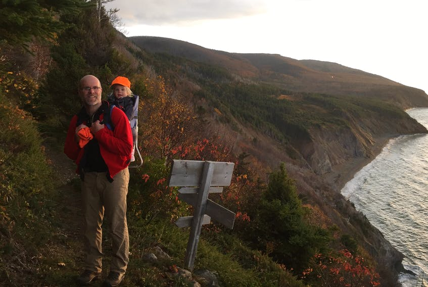 Seawall Trail Society vice-chair David Williams, seen here out on a hike with his daughter Bell on the MacKinnon's Brook Trail in Mabou Highlands in Cape Breton, said he's really looking forward to the day when the trail can open to the world. CONTRIBUTED