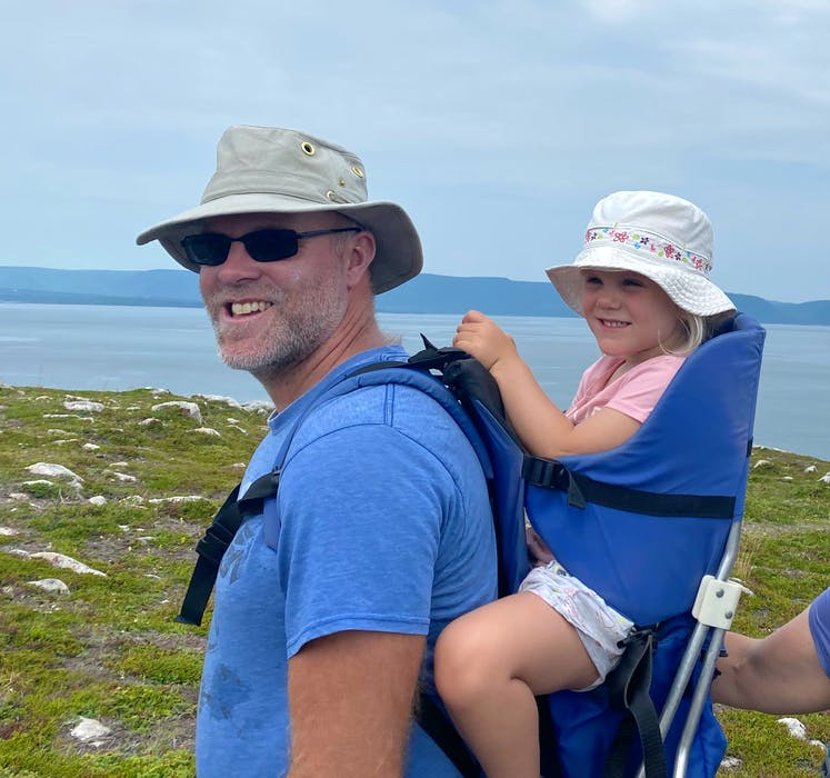 Seawall Trail Society vice-chair David Williams, is seen here out on a hike in White Point, N.S. with his daughter Bell. CONTRIBUTED
