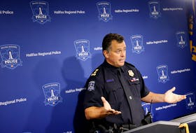 Halifax regional police chief, Dan Kinsella, gestures while responding to a reporter's question about the events surrounding Wednesday's shelter removal, at Halifax HQ in Halifax Thursday August 19, 2021.  TIM KROCHAK PHOTO