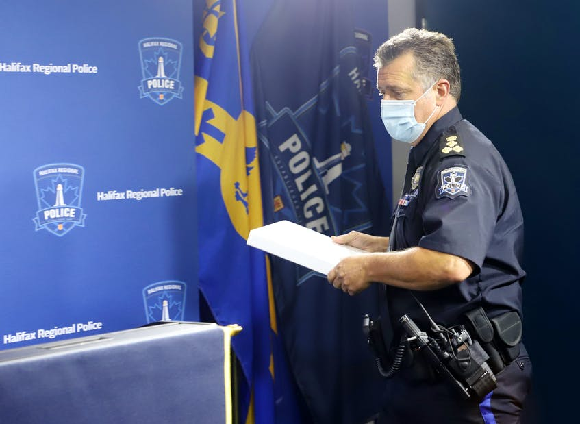 Halifax Regional Police Chief Dan Kinsella arrives for a news conference on the force's handling of a homelessness protest at Halifax police headquarters Thursday, Aug. 19, 2021 - Tim Krochak