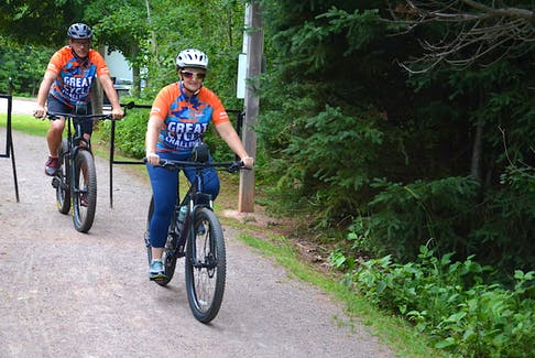 Jolline and Marcel Richard enter the trails at the Rotary Friendship Park in Summerside. The Summerside couple is cycling in the Great Cycle Challenge Canada for the Sick Kids Foundation for the second year in a row this month.