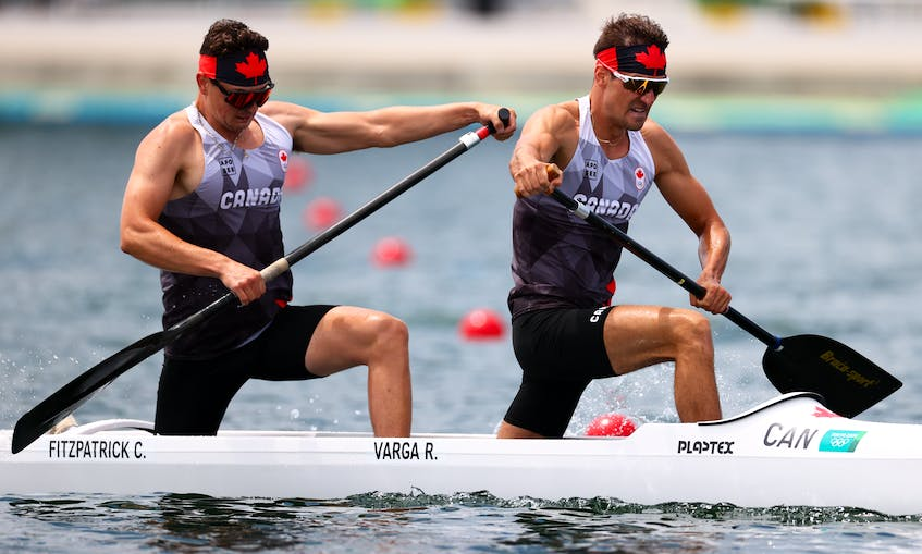 Canada's Connor Fitzpatrick (Dartmouth) and Roland Varga (Aurora, Ont.) advanced  to the C-2 1,000m semifinal on Monday at the Tokyo Olympics. REUTERS/Maxim Shemetov