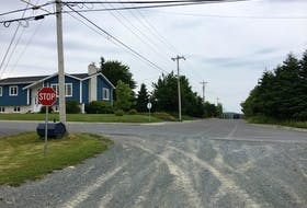 This intersection between the Newfoundland Railway and Eric Dawe Drive in Bay Roberts is a part of a proposed ATV route pilot project.