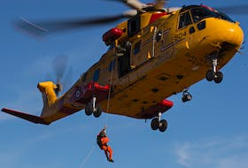 A CH-149 Cormorant helicopter helped in the search for a 24-year-old man from Whitney Pier, who went missing after a Jet Ski carrying him and another male passenger overturned. — CONTRIBUTED