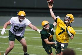 Edmonton Elks quarterbackTrevor Harris throws during training camp on July 11, 2021, in Edmonton.