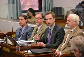 Representatives of the department of Environment, Water and Climate Change take questions during a standing committee meeting in January 2020. The Environment, Water and Climate Change minister at the time Brad Trivers, left, was joined by department staff Bruce Raymond, Brad Colwill and George Somers. Stu Neatby • THE GUARDIAN