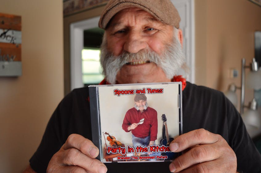 Brendon Peters of North Rustico, 67, has been playing the spoons since he was 12 years old. In 2018, he released an album, Spoons and Tunes, Party in the Kitchen. Peters sells copies of his CDs at his daily performances, which usually occur 1-3 p.m. on the waterfront at Seawalk Park. - Dave Stewart/The Guardian