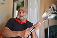 Brendon Peters, 67, of North Rustico has been playing the spoons since he was 12 years old. It was always music tradition in his family. And, his spoons come in all sizes, including this pair that are more than 1.5 feet in length.