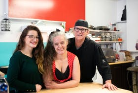Zoë McCredie, centre, is joined by daughter Ceilidh Gills and parter Will Duggan at the counter at Rockin' Rogi Diner where everything is made fresh from scratch.