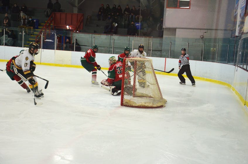Charlottetown Bulk Carriers Knights right-winger Max Chisholm drives to the net for a potential rebound during major under-18 hockey game against the Kensington Monaghan Farms Wild at Credit Union Centre in Kensington.