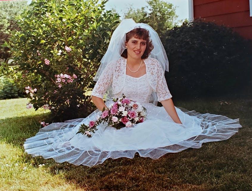 Jillian Clow's aunt, Dawna Woodside, was the second woman in the family to wear the wedding dress.