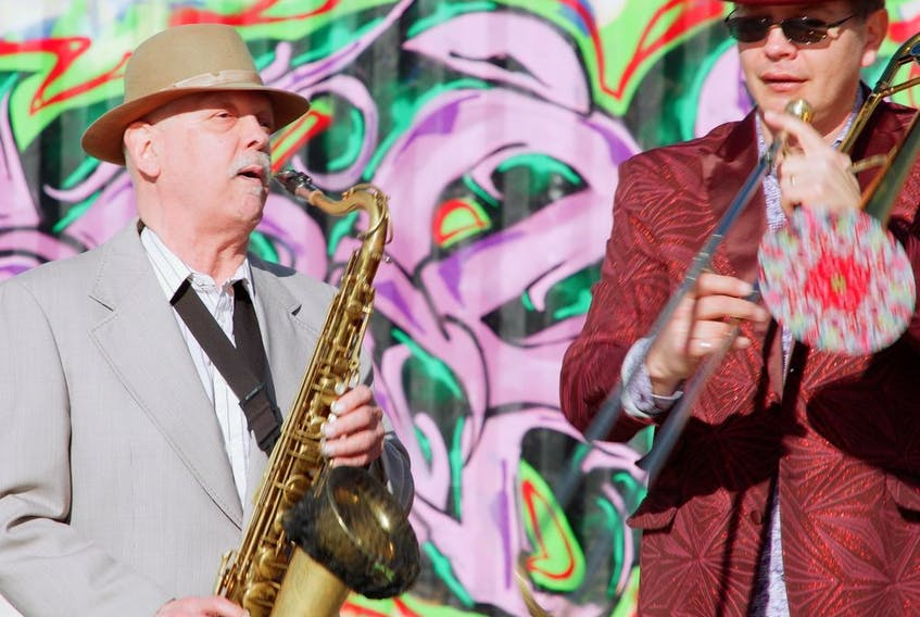 Dana Kaukinen and John Abraham of Delirium Street Party Brass. Photo submitted.