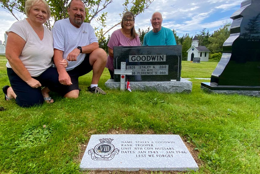 Cenny Cushing, Pat Surette, Shelley Goodwin and Jeff Mason are members of the Pembroke Cemetery Footstone committee.  CARLA ALLEN • TRICOUNTY VANGUARD
