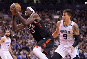 Pascal Siakam (43) drives during Toronto's last home game in Toronto, on Feb. 28, 2020 against the Charlotte Hornets.