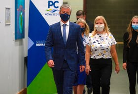 Premier-designate Tim Houston arrives at a news conference at the Pictou Country Wellness Centre on Wednesday morning. The Progressive Conservative Party, under Houston's leadership, swept into office Tuesday with 31 elected members of the legislative assembly. RYAN TAPLIN/SALTWIRE NETWORK