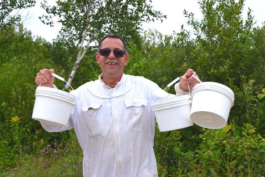 Dave MacPherson, of Dominion, a commercial diver who also owns The Queens Gold, Beekeeping and Honey, holds up buckets of sugar water for some of his young beehives in a field in Point Edward. The syrup encourages bees to make more honey quicker so they can survive the winter. Sharon Montgomery-Dupe/Cape Breton Post - Sharon Montgomery