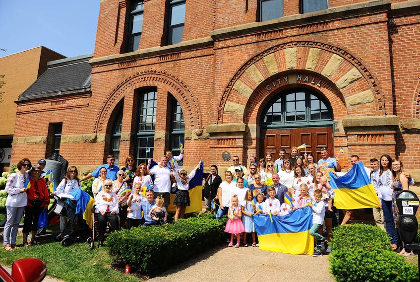 A crowd gathers at Charlottetown City Hall to celebrate Ukrainian Independence Day on Aug. 22, two days ahead of the 30th anniversary event when Ukraine split from the Soviet Union. Oleksandr Stelmashchuk • Special to The Guardian