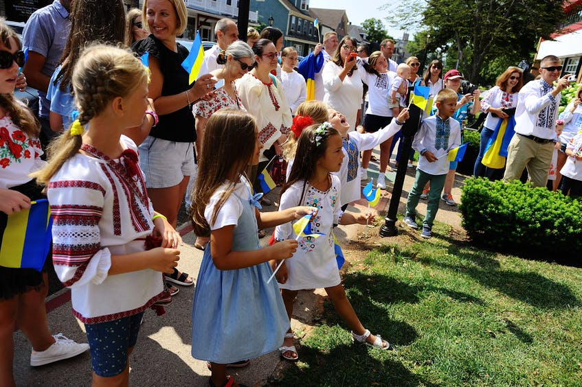 Children and their families wearing Ukrainian clothes gather at Charlottetown City Hall Aug. 22 to celebrate Ukrainian Independence Day, which will mark its 30th anniversary Aug. 24 this year. Oleksandr Stelmashchuk • Special to The Guardian - Saltwire network