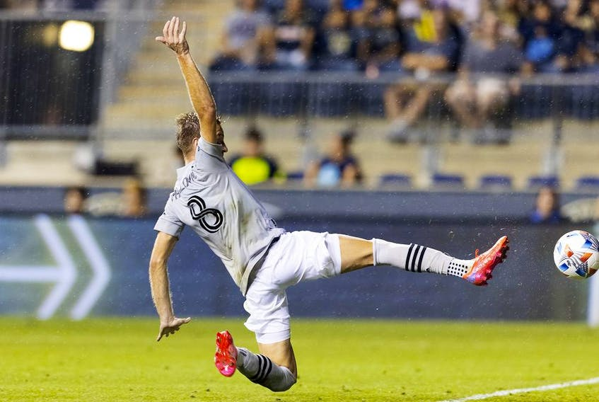 CF Montréal's Djordje Mihailovic scores a goal against the Philadelphia Union in the first half at Subaru Park on Saturday, Aug. 21, 2021,  in Chester, Pa.