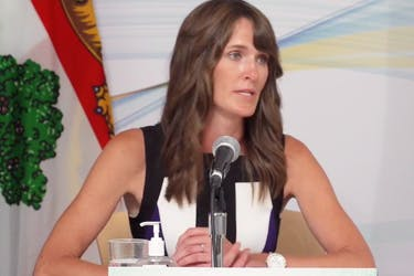 Education Minister Natalie Jameson answers questions from reporters during a scheduled COVID-19 briefing Aug. 24.