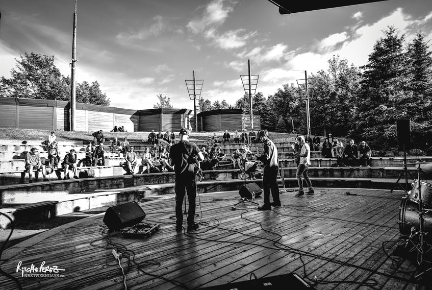 """STJ-25082021-Bowring-Park-Amphitheater2  Local musician and journalist Andrew Waterman (centre stage) organized a free, all-ages show at the Bowring Park Amphitheatre in 2017. Brokest Records' Shaun McCabe """"piggybacked"""" on his friend's idea for Brokest Fest. Ritche Perez photo"""