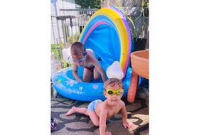 You don't have to go very far to find some relief from the heat. Nicole Moore watched as two of her children, Taylor (4) and Everly (1), had a blast and a splash or two on their back deck in Timberlea, N.S.