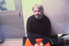 Accused murderer Kurt Churchill appears in provincial court in St. John's July 28 via video from Her Majesty's Penitentiary. Churchill has been in custody since his arrest in early July for the second-degree murder of James Cody and related firearms offences. Screengrab