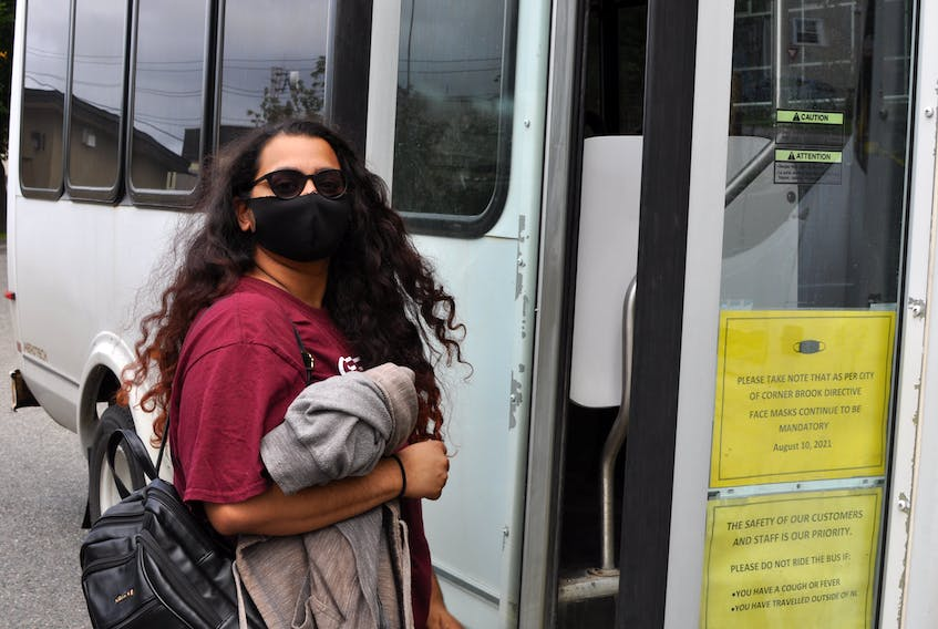 When Gaayathri Murugan went to board this Corner Brook Transit bus at the transfer station on Park Street in Corner Brook on Wednesday she learned it would be another hour before a bus would arrive that she could take to get back to Grenfell Campus.