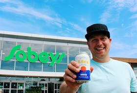 Mitch Cobb, co-founder of Upstreet Craft Brewing, celebrates the launch of Libra at all Sobeys stores in Atlantic Canada. (CNW Group)