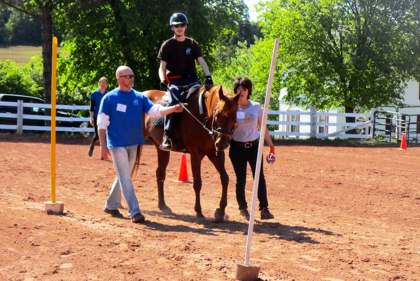 Ryan MacNeil of the Joyriders in P.E.I. steers Tessa independently through the poles. Photo by Daphne Davey