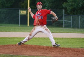 Ben MacDougall, of the Summerside Toombs and MacDougall CPA Chevys, went the distance for the win in Game 2 of the Island Junior Baseball League final with the Capital District Islanders on Aug. 24 at Memorial Field in Charlottetown.