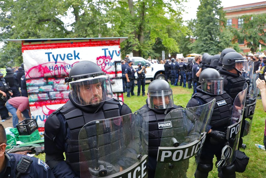 The removal of homeless shelters turned into a major confrontation with Halifax regional police in Halifax on Wednesday, Aug. 18, 2021.