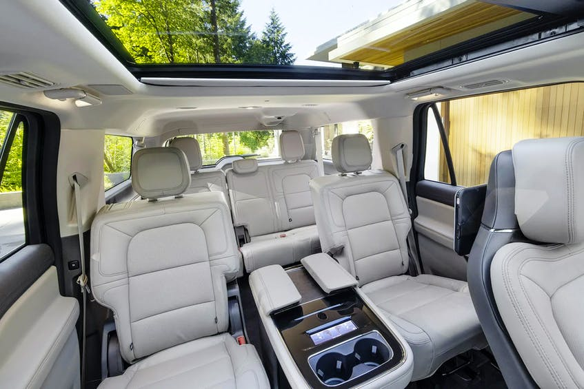 The 2022 Lincoln Navigator Flight Blue Reserve's third-row passengers don't get the luxury of a massage, but there is power recline. Handout/Lincoln - POSTMEDIA