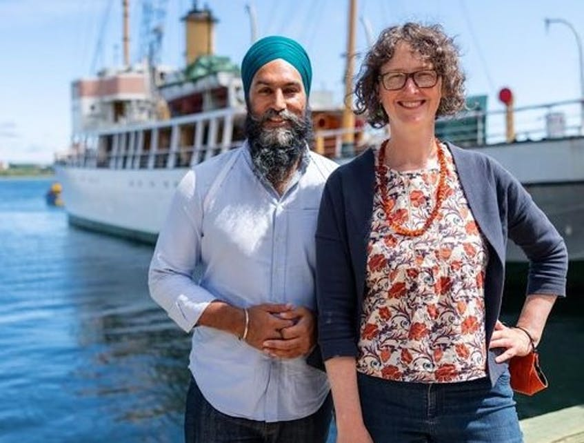 Lisa Roberts, the NDP candidate for the Halifax riding in the Sept. 20 federal election, stands along the Halifax waterfront with federal party leader Jagmeet Singh. - Contributed