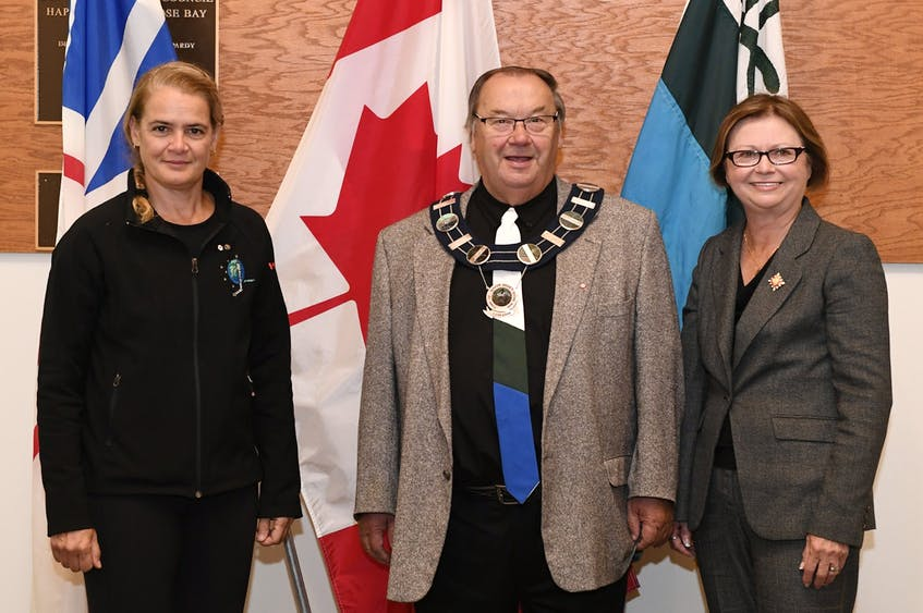 In this Sept. 2018 file photo, Happy Valley-Goose Bay Mayor Wally Andersen is shown with Lt.-Gov. Judy Foote and then-Gov.-Gen Julie Payette. — Twitter/@GGCanada