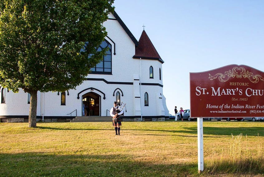 A piper welcomes guests to historic St. Mary's Church, the venue for the Indian River Festival, in this file photo. A musical nature walk will kick off at the church on Oct. 2.