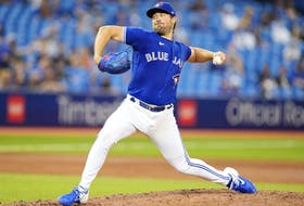 Blue Jays' Robbie Ray pitches to the Chicago White Sox in the third inning on Wednesday, Aug. 25, 2021.