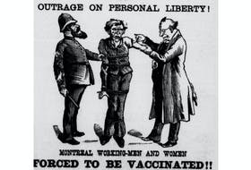 An image from Dr. Alexander Ross's 1885 pamphlet decrying smallpox vaccinations.
