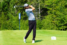 Michael Blair watches his shot earlier this week during the Prince Edward Island Open at the Dundarave Golf Course. Blair and Joey Mayo are tied for first after the second round.