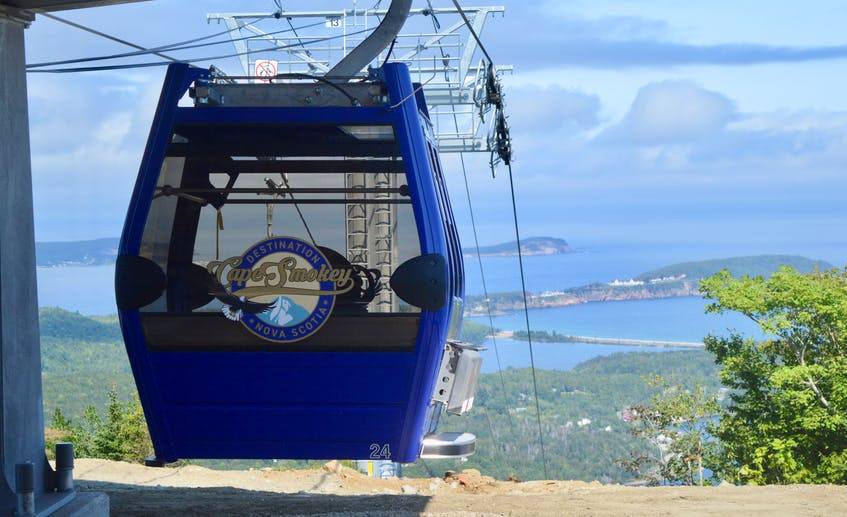 The Destination Cape Smokey gondola is now operational. Above, a cable car makes its way to the upper terminal. DAVID JALA/CAPE BRETON POST