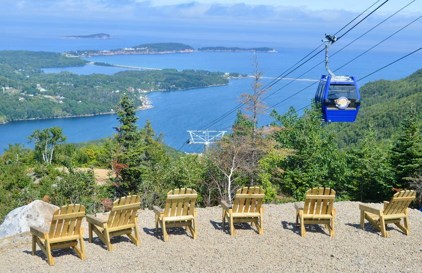 The new Atlantic Gondola lift at the Destination Cape Smokey resort whisks passengers to the top of the mountain where viewing platforms offer visitors spectacular vistas of the Ingonish area in the Cape Breton Highlands. DAVID JALA/CAPE BRETON POST