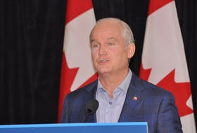 Federal Conservative Leader Erin O'Toole announced an increase in employment insurance sick leave benefits at the Glynmill Inn in Corner Brook on Friday, Aug. 27, but didn't provide answers to a lot of other questions.