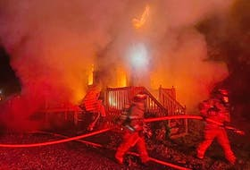 Firefighters fight a tremendous blaze that broke out at a house at 6 Winona Street, Glace Bay, at about 3:13 a.m. Friday. The cause of the fire is under investigation by the fire marshal's office. Contributed/Glace Bay Fire Department